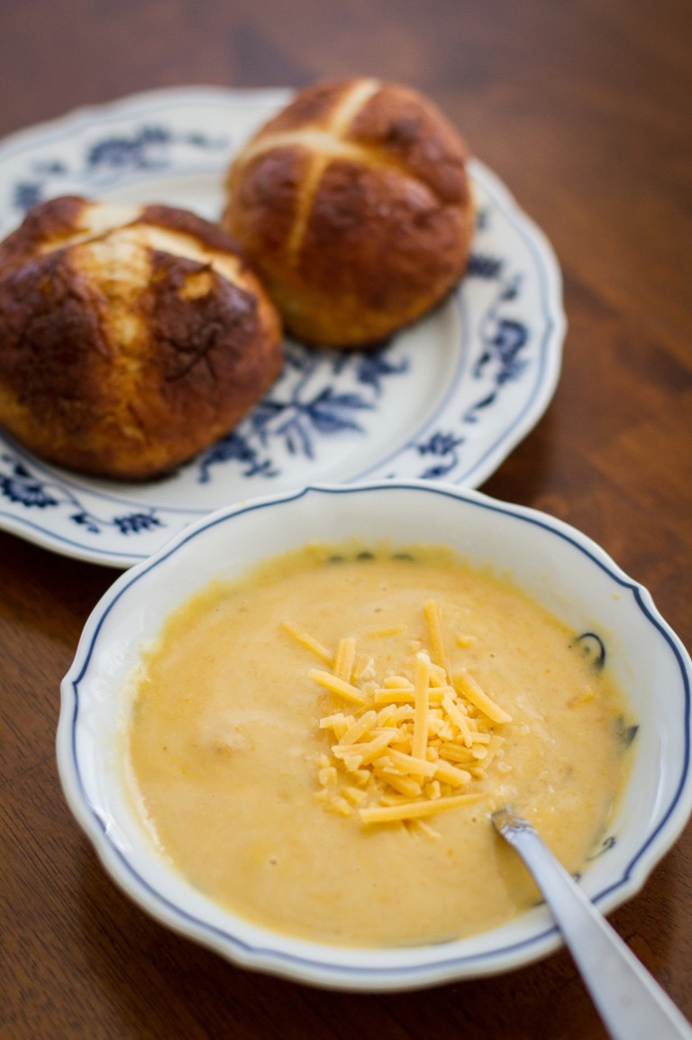 Beer Cheese Soup and Soft Pretzel Rolls
